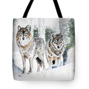 Wolves In The Birch Trees  Tote Bag