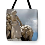 Woman And Bull, Marquis De Pombal Monument Tote Bag
