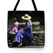 Woman And Child At Pond Tote Bag