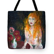 Woman And Flowers  Tote Bag