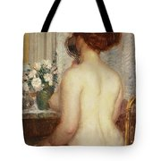 Woman At A Dressing Table Tote Bag