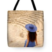 Woman At Greco-roman Theatre At Kourion Archaeological Site In C Tote Bag