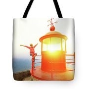 Woman At Nazare Lighthouse Tote Bag