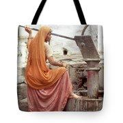 Woman At The Pump Tote Bag