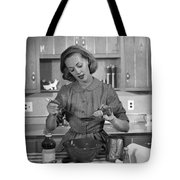 Woman Baking In Kitchen, C.1960s Tote Bag