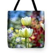 Photographer Behind The Flowers Tote Bag
