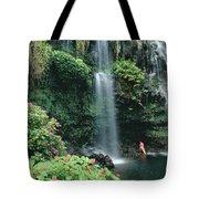 Woman Beneath Waterfall Tote Bag