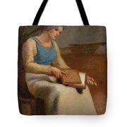 Woman Carding Wool Tote Bag