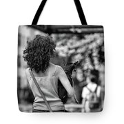 Woman Carry Dog Nyc Blk Wht  Tote Bag