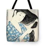 Woman Combing Her Hair Kami Sukeru Onna Tote Bag
