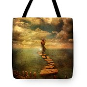 Woman Crossing The Sea On Stepping Stones Tote Bag by Jill Battaglia