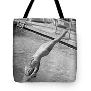 Woman Doing A Back Dive Tote Bag