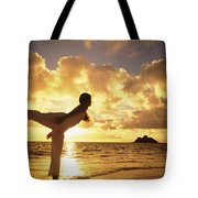 Woman Doing Yoga On Golden Beach Tote Bag