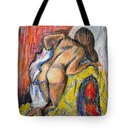 woman drying herself by Degas Tote Bag