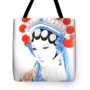 Woman From Chinese Opera With Tattoos -- The Original -- Asian Woman Portrait Tote Bag