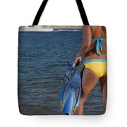 Woman Getting Ready To Go Snorkeling Tote Bag