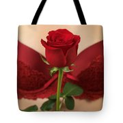 Woman Holding A Red Rose Tote Bag