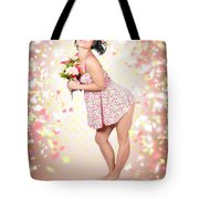 Woman Holding Flowers In Hands. Spring Celebration Tote Bag