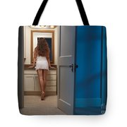 Woman In A Bathroom Tote Bag