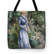 Woman In A Blue Dress Standing In The Garden At Saint-cloud Tote Bag by Pierre Auguste Renoir