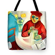 Woman In A Cafe Tote Bag