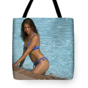 Woman In A Pool. Tote Bag