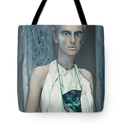 Woman In Ash And Blue Body Paint Tote Bag