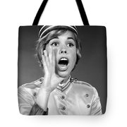 Woman In Bell Hop Outfit Calling Out Tote Bag
