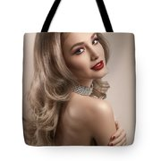 Woman In Big Curls Hollywood Glam Look Tote Bag