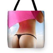 Woman In Bikini With A Pink Umbrella Tote Bag