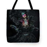 Woman In Black Gown And Headdress In Body Paint Tote Bag
