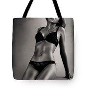 Woman In Black Lingerie Tote Bag