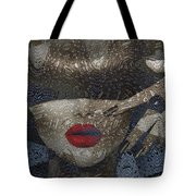 Woman In Blue Red Passion Tote Bag