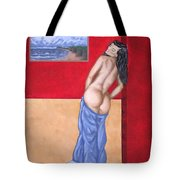 Woman In Blue Robe Tote Bag