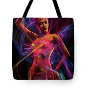 Woman In Colorful Body Paint With Light Streaks Tote Bag