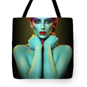 Woman In Cyan Body Paint With Curly Hairstyle Tote Bag