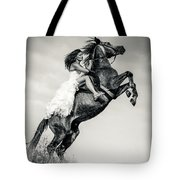 Woman In Dress Riding Chestnut Black Rearing Stallion Tote Bag