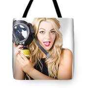 Woman In Fear Holding Gas Mask On White Background Tote Bag by Jorgo Photography - Wall Art Gallery