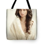Woman In Fur Wrap Wearing Crown Tote Bag