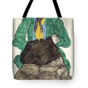 Woman In Green Blouse With Muff Tote Bag
