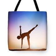Woman In Half Moon Yoga Pose Meditating At Sunset Tote Bag
