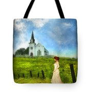 Woman In Lace By A Country Church Tote Bag