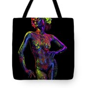 Woman In Leaf Headdress In Body Paint Tote Bag