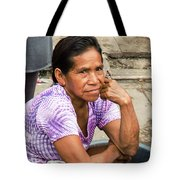 Woman In Market Tote Bag by Allen Sheffield