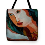 Woman In Orange And Blue Tote Bag