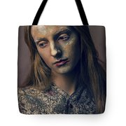 Woman In Painterly Look Tote Bag