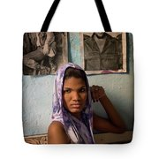 Woman In Purple Havana Cuba Tote Bag
