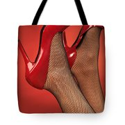 Woman In Red High Heel Shoes Tote Bag