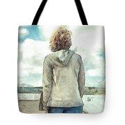 Woman In Rustico Harbor Prince Edward Island Tote Bag