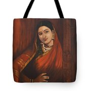 Woman In Saree - After Raja Ravi Varma Tote Bag